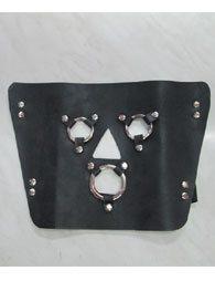 BDSM Δερμάτινη μάσκα με κρίκους στα μάτια και στο στόμα