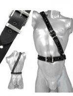 BDSM Ανδρικά διακοσμητικά λουριά για το στήθος & τόκες