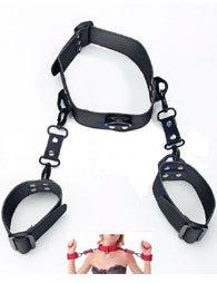 BDSM Δερμάτινο περιλαίμιο που ενώνεται με χειροπέδες