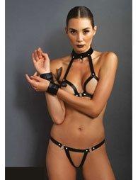 BDSM Δερμάτινο σουτιέν με στρινγκ & περιλαιμίο