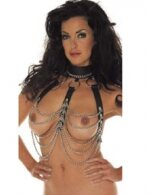 BDSM Δερμάτινο μπούστο με περιλαίμιο και με αλυσίδες
