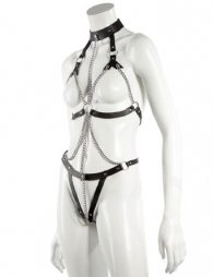 BDSM Γυναικείο δερμάτινο κορμάκι με περιλαίμιο