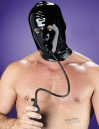 LATEX HOOD WITH INFLATABLE GAG M/L