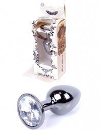 Plug-Jewellery Dark Silver PLUG- Clear 7 cm