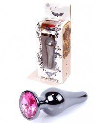 Plug-Jewellery Dark Silver BUTT PLUG- Pink 9,5