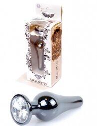 Plug-Jewellery Dark Silver BUTT PLUG- Clear 9,5 εκ
