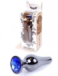 Plug-Jewellery Dark Silver BUTT PLUG- Dark Blue 9,5 cm
