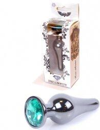 Plug-Jewellery Dark Silver BUTT PLUG- Green 9,5 εκ