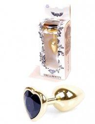 Plug-Jewellery Gold Heart PLUG- Black 7 cm