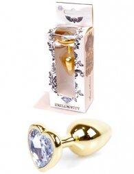 Plug-Jewellery Gold Heart PLUG- Clear 7 cm