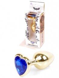 Plug-Jewellery Gold Heart PLUG- Dark Blue 7 cm