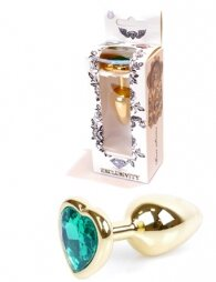 Plug-Jewellery Gold Heart PLUG- Green 7 εκ