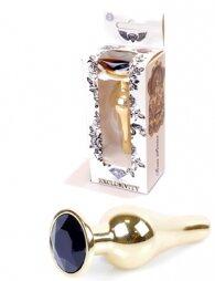 Plug-Jewellery Gold BUTT PLUG- Black 9,5 εκ