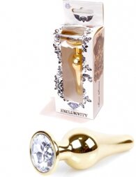 Plug-Jewellery Gold BUTT PLUG- Clear 9,5 εκ