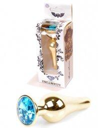 Plug-Jewellery Gold BUTT PLUG- Light Blue 9,5 εκ