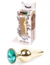 Plug-Jewellery Gold BUTT PLUG- Green 9,5 εκ