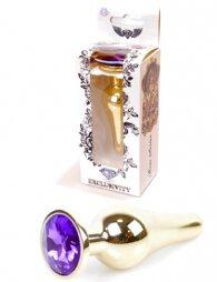 Plug-Jewellery Gold BUTT PLUG- Purple 9.5 cm