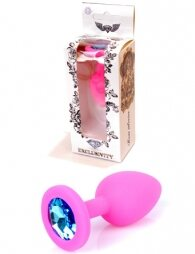 Plug-Jewellery Pink Silicon PLUG Small- Light Blue Diamond 7 cm