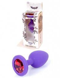 Plug-Jewellery Purple Silicon PLUG Small- Red Diamond 7 cm