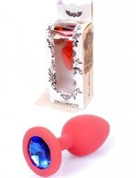 Plug-Jewellery Red Silicon PLUG Medium- Blue Diamond 8 εκ