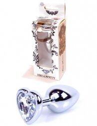 Plug-Jewellery Silver Heart PLUG- Clear 7 εκ