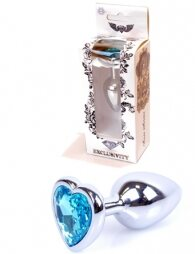 Plug-Jewellery Silver Heart PLUG- Light Blue 7 εκ
