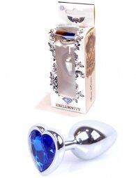 Plug-Jewellery Silver Heart PLUG- Dark Blue 7 εκ