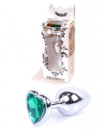 Plug-Jewellery Silver Heart PLUG- Green 7 εκ