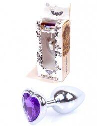 Plug-Jewellery Silver Heart PLUG- Purple 7 εκ