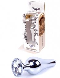 Plug-Jewellery Silver BUTT PLUG- Clear 9,5 εκ
