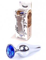 Plug-Jewellery Silver BUTT PLUG- Dark Blue 9,5 εκ