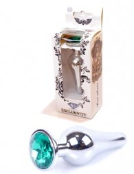 Plug-Jewellery Silver BUTT PLUG- Green 9.5 cm