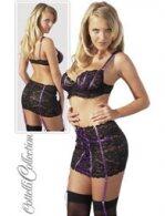 Δαντελένιο σετ σουτιέν/φούστα/στρινγκ σε μαύρο-μοβ χρώμα