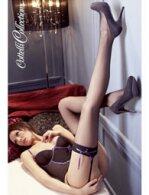 Μαύρες κάλτσες με μοβ φιογκάκι