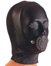 Μαύρη δερμάτινη μάσκα της ZADO με τρύπες σε μύτη και στόμα