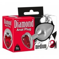 """Σφήνα μεταλλική """"Diamond Anal Plug medium"""" με κρύσταλλο καρδιά"""