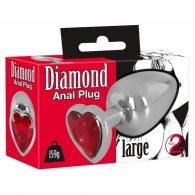 """Σφήνα μεταλλική """"Diamond Anal Plug large"""" με κρύσταλλο καρδιά"""