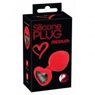 """Σφήνα """"Silicone Plug medium 7.9 cm"""" με κρύσταλλο καρδιά"""