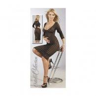 Φόρεμα Διάφανο Ριγέ με Βαθύ Ντεκολτέ S