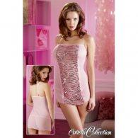 Μίνι Φόρεμα με Πούλιες & Στρινγκ ροζ