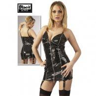 Μαύρο-Ριγέ Φόρεμα Ζαρτιέρας Βινυλίου