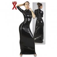 Φόρεμα Latex Μαύρο Μακρύ Κοντό Μανίκι