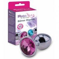 """Σφήνα μεταλλική """"Silver Starter size M"""" με κρύσταλλο ροζ"""