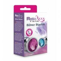 """Σφήνα μεταλλική """"Silver Starter size L"""" με κρύσταλλο μπλε"""