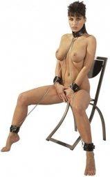 BDSM Δερμάτινο περιλαίμιο με χειροπέδες και αλυσίδες