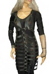 BDSM Γυναικείο φόρεμα από δέρμα και με κρίκους