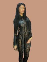 BDSM Γυναικείο φόρεμα από δέρμα με κάθετα λουριά