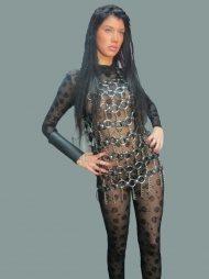 BDSM Γυναικείο μίνι φόρεμα με μεταλλικούς κρίκους