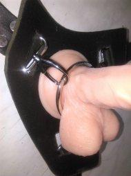 BDSM Ζώνη-Strap on από χοντρό δέρμα με 2 μεταλλικούς κρίκους