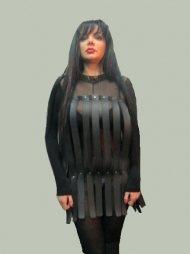 BDSM Γυναικείο φόρεμα από δέρμα με πολλά κάθετα λουριά